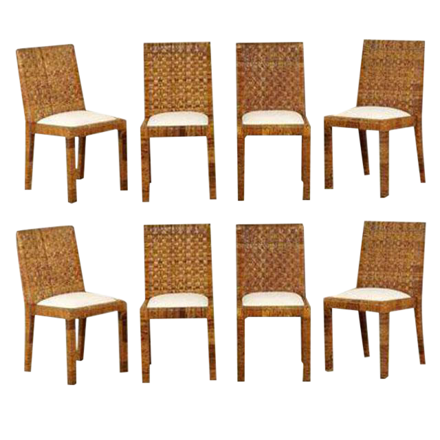 Excellent Restored Set Of Eight Vintage Rattan Dining Chairs By Bielecky  Brothers | DECASO