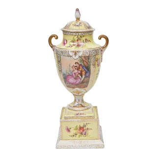 Dresden Lidded Urn on Plinth For Sale