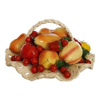 Capodimonte Vintage Porcelain Woven Fruit Basket Centerpiece For Sale
