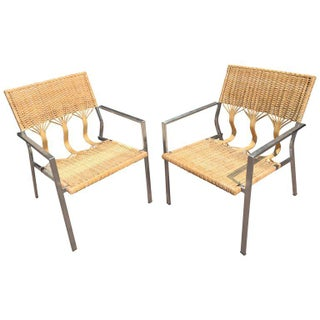 Four Adrien Gardere Woven Bamboo and Rattan Chairs Preview
