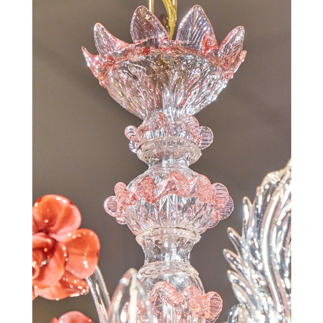 Murano Pink Rose and Crystal Glass Chandelier - Image 7 of 10