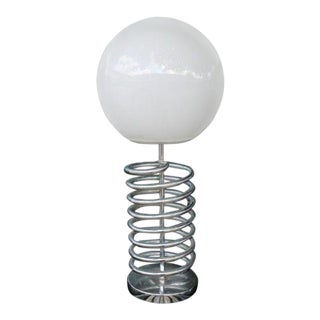 1970s Mod Space Age Corkscrew / Spring Base Lamp With White Globe