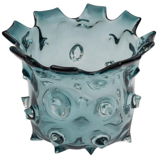 1960s Blue Murano Glass Vase by Barovier E Toso For Sale - Image 9 of 9
