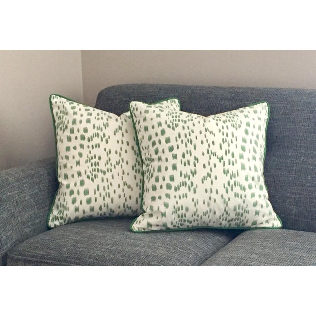 Brunschwig & Fils Brunschwig & Fils Les Touches Green and Ivory Pillow Cover For Sale - Image 4 of 7