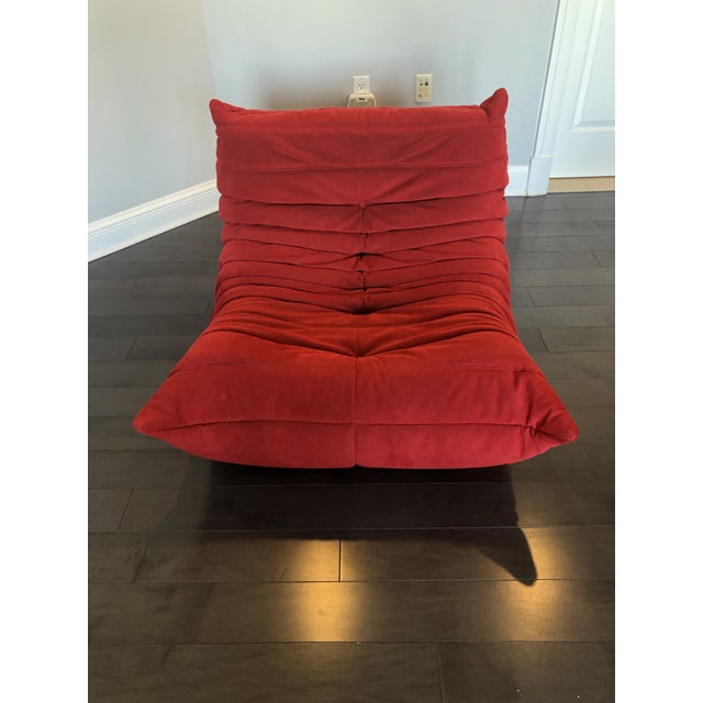 Modern Ligne Roset Red Togo Chair For Sale In Baltimore - Image 6 of 6