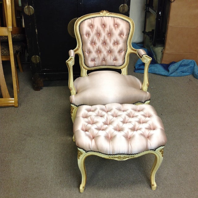 French Antique Pink Tufted Silk Chair & Ottoman - a Pair For Sale - Image 11 of 11