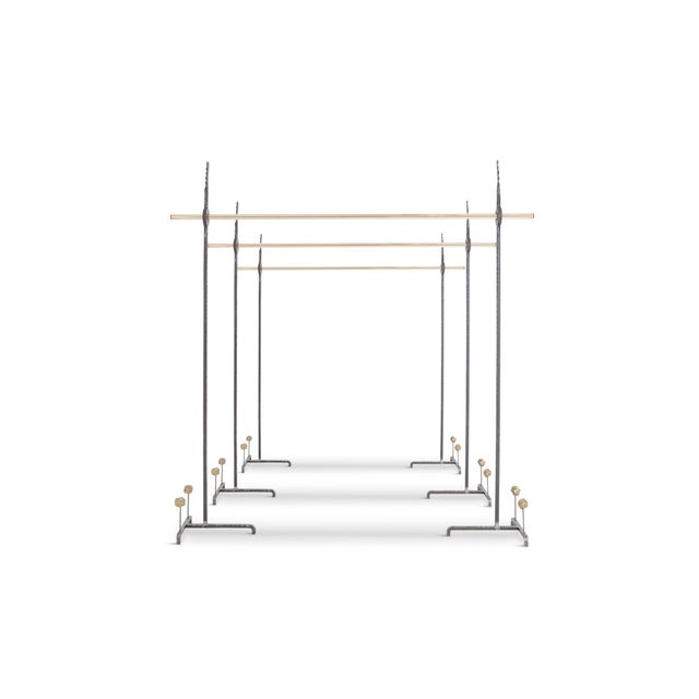 Hollywood Regency Bespoke Clothing Rack in Wrought Iron and Brass For Sale - Image 10 of 10