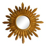 Image of Italian Giltwood Sunburst Mirror For Sale