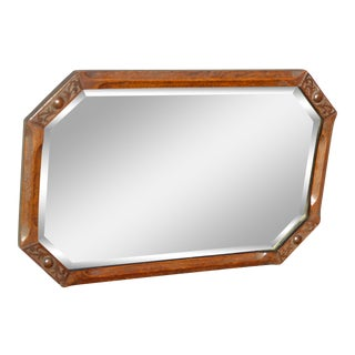 Antique French Country Brown Oak Wall Mantle Mirror W Beveled Glass For Sale