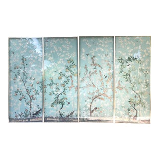 "Framed ""Eastern Eden"" Iksel Wallpaper Panels - Set of 4 For Sale"