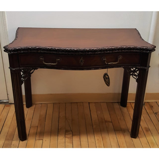 Maitland Smith Mahogany Flip Top Game Table For Sale - Image 9 of 9