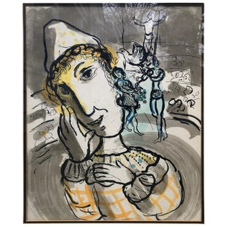 Marc Chagall Cirque Au Clown Jaune Print C. 1967 For Sale