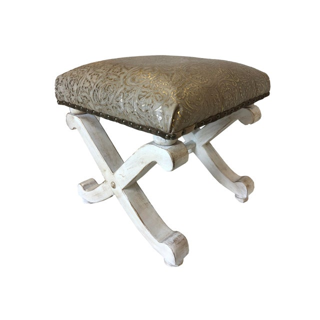 Prime Metallic Embossed Leather Vanity Stool Alphanode Cool Chair Designs And Ideas Alphanodeonline