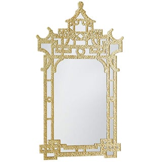 Global Views Gold Leaf Finish Chinoiserie Glass Mirror For Sale