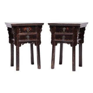 Pair of 19th Century Chinese Tall Petite Cabinets For Sale