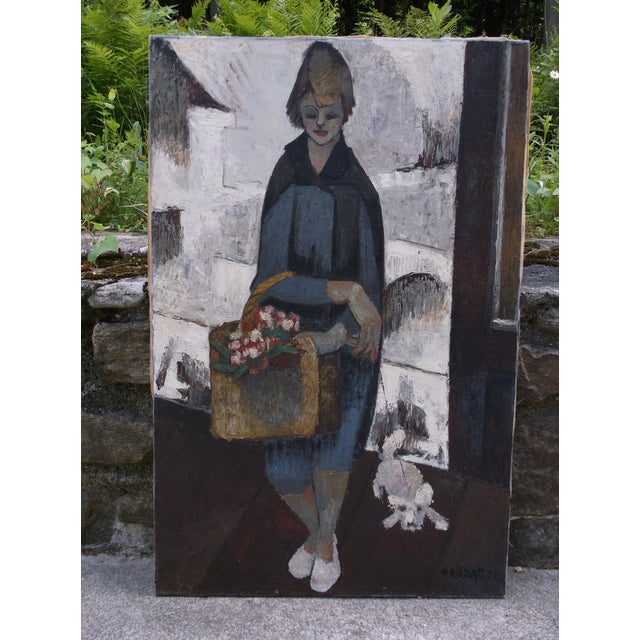 Contemporary 1960's French Expressionist Oil on Canvas Signed For Sale - Image 3 of 3
