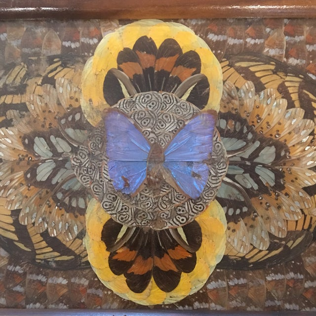 Art Deco 1940's Art Deco Real Butterfly Wing Inlay Tray Platter For Sale - Image 3 of 8