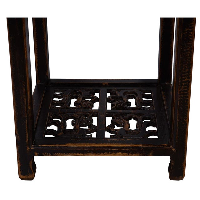 Antique Chinese Carved Official Arm Chairs & Tea Table - Set of 3 For Sale - Image 9 of 13