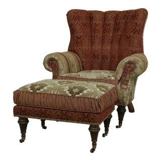 Carol Bolton Design Upholstered Chair & Ottoman For Sale