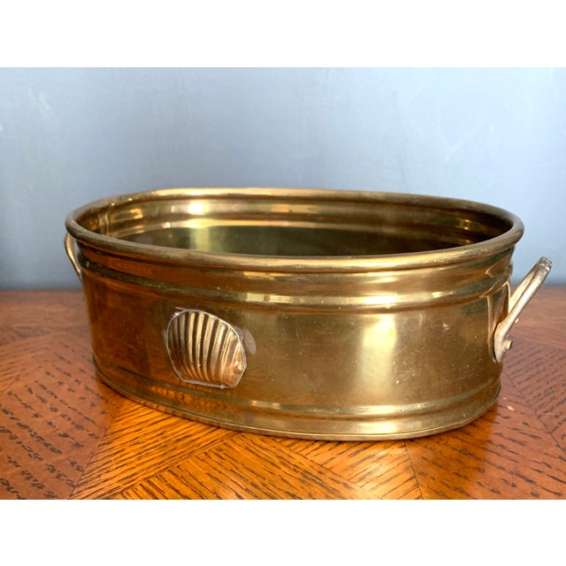Vintage Brass Scalloped Shell Planter For Sale - Image 9 of 11