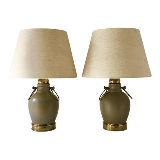 Pair of Faux Ceramic Table Lamps With Brass Detailing 1960s For Sale