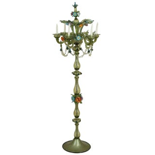 Mid-Century Murano Standing Candelabra Floor Lamp For Sale