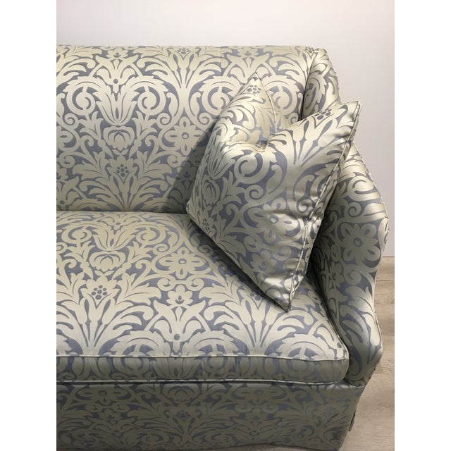 Traditional Hickory Chair Traditional Blue and Silver Damask Sateen Skirted Sofa For Sale - Image 3 of 6