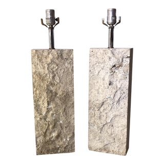 Vintage Travertine Lamp Bases - a Pair For Sale