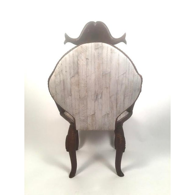 19th Century Fish Carved Arm Chair with Eel Skin Upholstery - Image 6 of 11