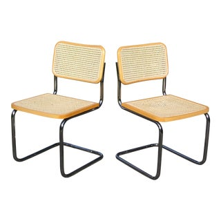 Vintage Pair Mid Century Modern Marcel Breuer Cesca Chrome & Cane Chairs Italy For Sale