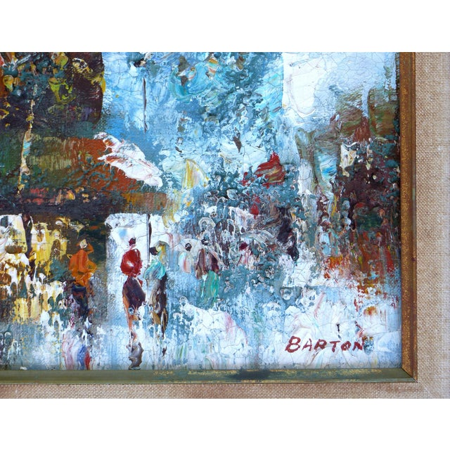 Midcentury Modern Paris Street Scene Oil Paintings- a Pair For Sale - Image 10 of 13