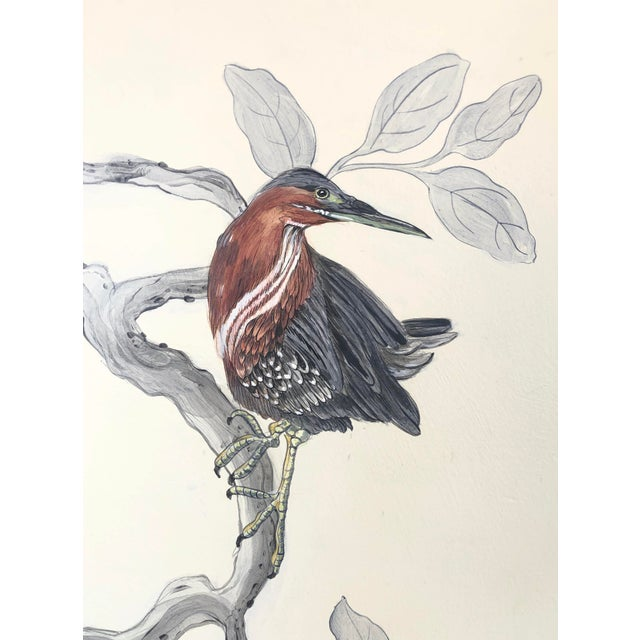 """Chinoiserie Style Bird Painting, """"Long Time No Sea"""" For Sale In Los Angeles - Image 6 of 8"""