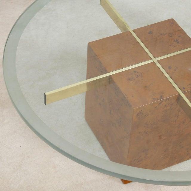 Milo Baughman X-Base Glass & Burled Wood Coffee Table For Sale In Washington DC - Image 6 of 9