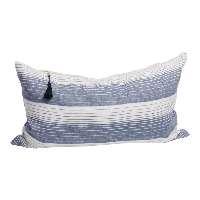 "Cortina Blue Stripe Pillow 14"" x 26"" For Sale"