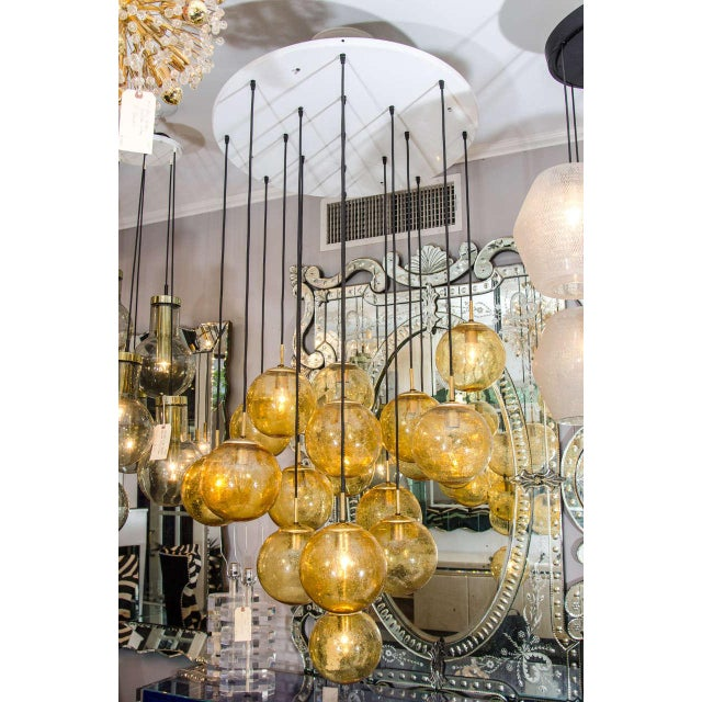 Glass Globe Chandelier by Limburg Glashütte, Germany For Sale In New York - Image 6 of 6