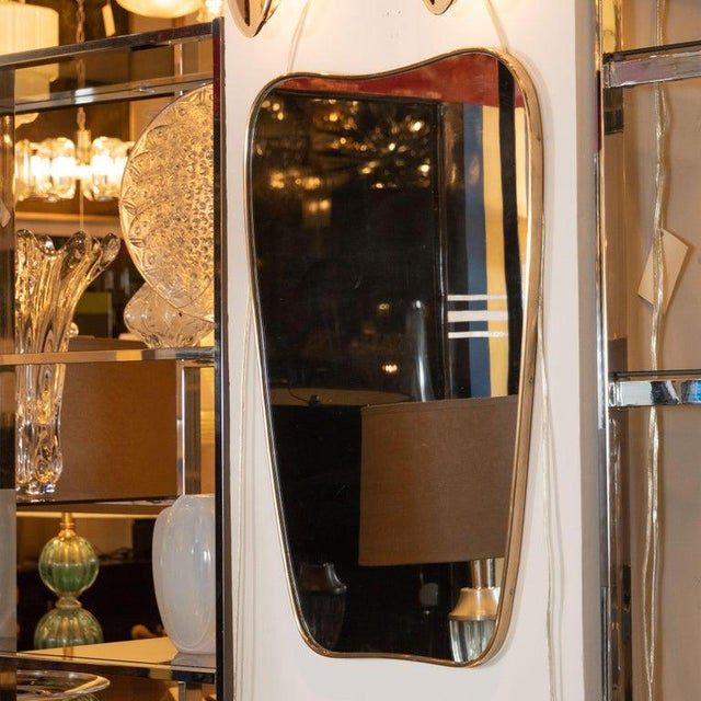 Italian Amorphic Mid-Century Modern Atomic Bowed Shield Form Brass Mirror For Sale - Image 4 of 5