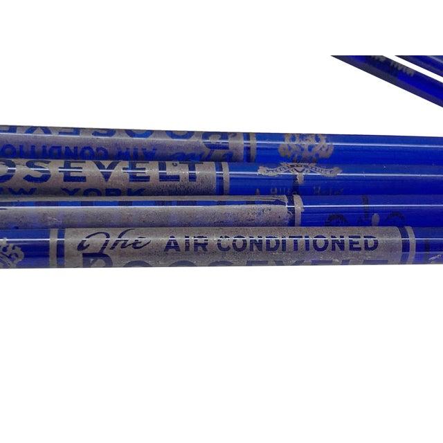 Cobalt Blue Glass Roosevelt Hotel New York Swizzle Cocktail Sticks - Set of 8 For Sale - Image 4 of 7