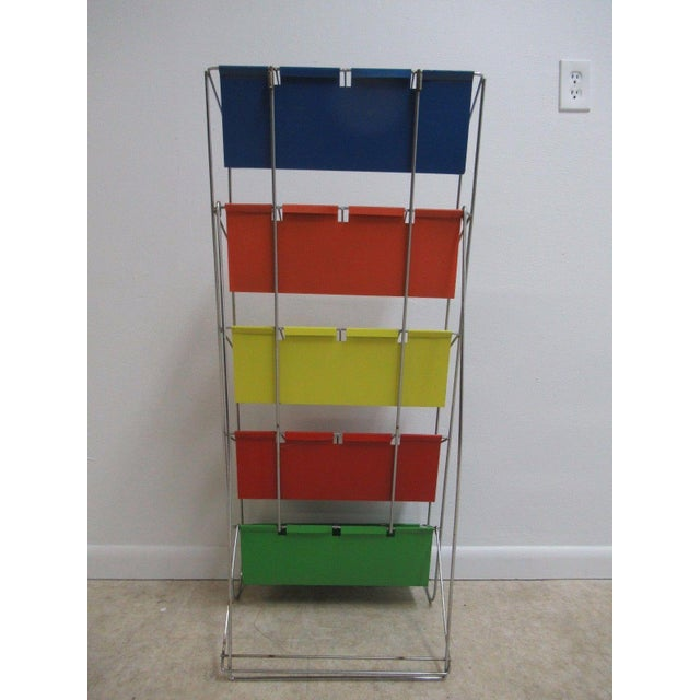Vintage Chrome Multicolor Book Rack - Image 5 of 11