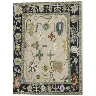 Contemporary Oushak Style High-Low Area Rug - 10′4″ × 13′1″ For Sale