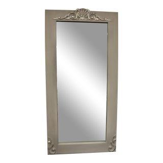 Fll Length Standing Mirror Painted Pale Grey With Some Silver Leaf Details at the Top and Base. For Sale