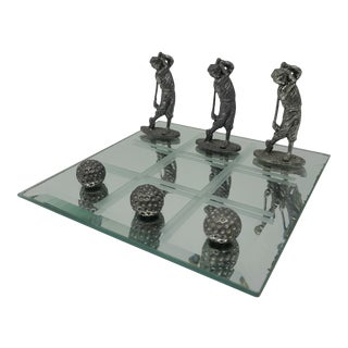 Vintage Pewter Golfers and Golf Balls Tic-Tac-Toe With Mirror Game Board For Sale
