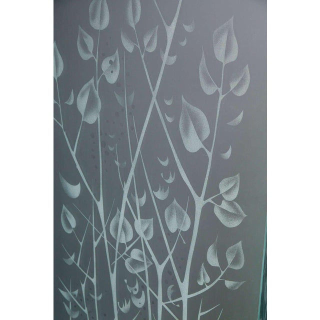 Transparent Four-Panel Etched Glass Screen For Sale - Image 8 of 9