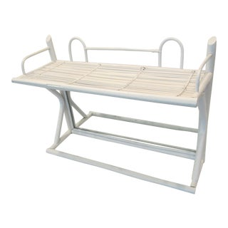 Country White Bamboo Wall Shelf, Mirror, and Towel Rack For Sale