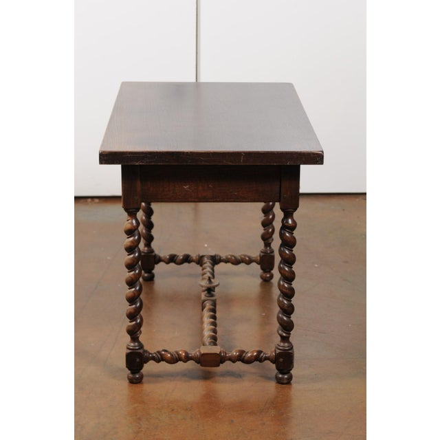 French Walnut Louis XIII Style Desk with Barley Twist Base from the 19th Century For Sale - Image 11 of 13