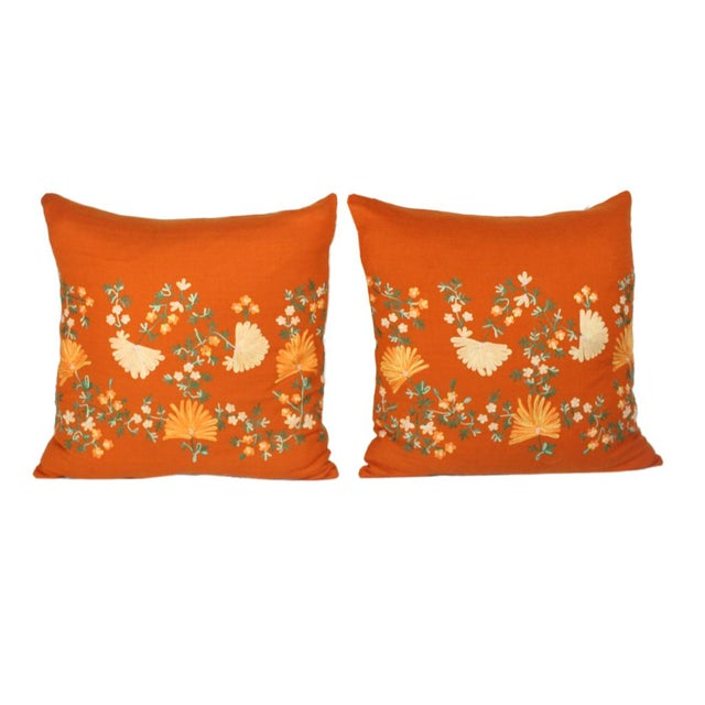 "This custom made pair of 20"" square knife-edged pillows made from the softest orange cashmere hand-embroidery and crewel..."