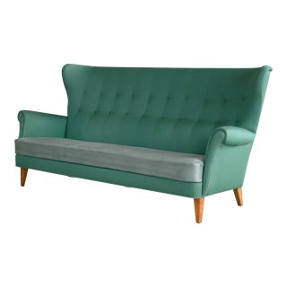 Mid-Century Danish Fritz Hansen Inspired Highback or Wingback Sofa, Circa 1955 For Sale