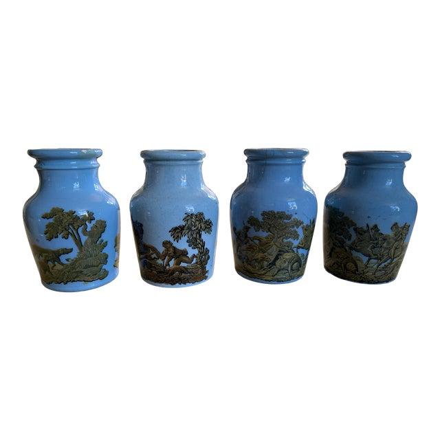 1880 Blue Pratt Ware Meat Jars - Set of 4 For Sale