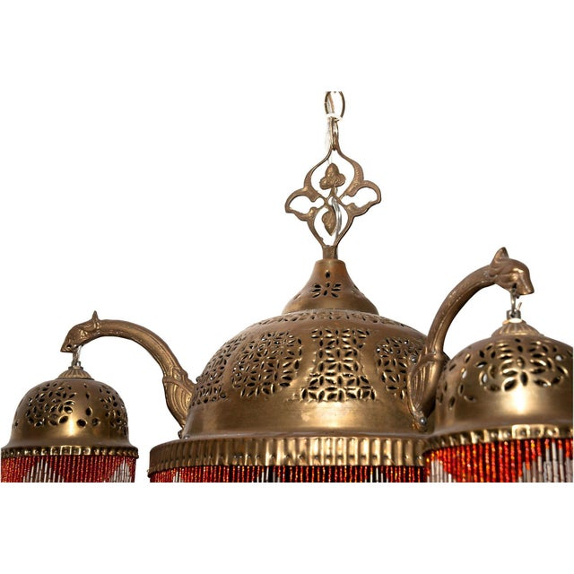 Vintage Moroccan Brass & Beaded Pendant Lamp For Sale - Image 9 of 10