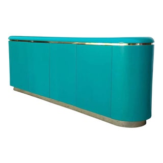 Teal Vintage Brass Base Credenza For Sale
