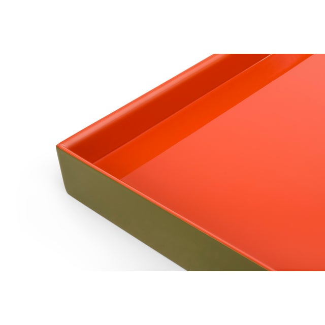 Contemporary Medium Tray in Olive Green / Orange - Pentreath & Hall for The Lacquer Company For Sale - Image 3 of 4